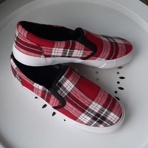 Red plaid slip on sneakers
